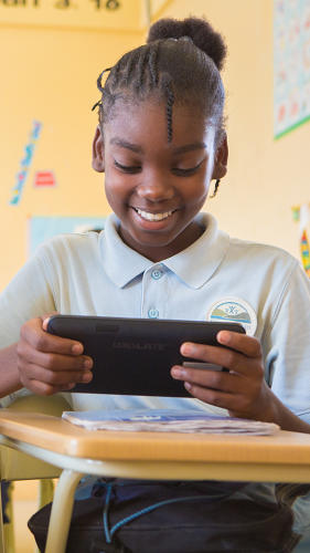 <p>The Kickstarter-funded pilot will be tailored to its audience at a school on the outskirts of Port-au-Prince, Respire Haiti, where the greatest needs are for basic literacy in French and supplementary textbook materials on science and math.</p>