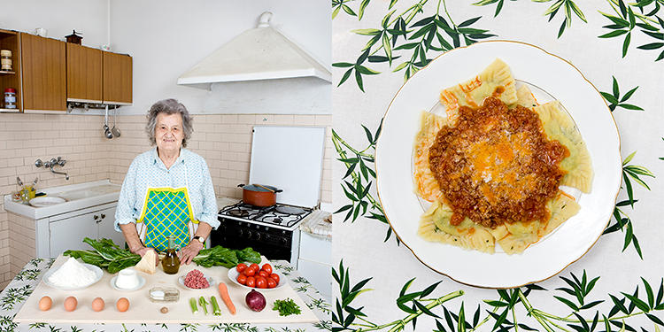 <p>The project's inspiration and the photographer's grandmother, Marisa Batini, 80, Castiglion Fiorentino, Italy. Swiss chard and ricotta Ravioli with meat sauce.</p>
