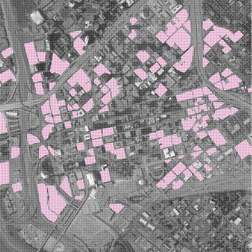 <p>All this pink is the space allotted for parking infrastructure in Dallas.</p>