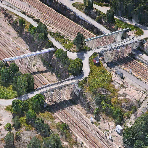 <p>Apple's bridges, for instance, pull up the land beneath them into a shimmering wall.</p>