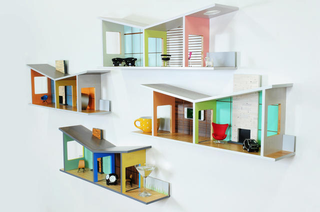 These shelves double as mid century modernist dollhouses for grown ups co design business - Shelves designs for home ...