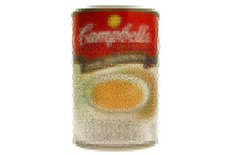 <p> Pointillist image composed of Campbell's soup labels, 2002.  </p>