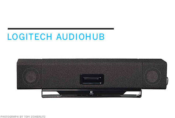 <p> <strong>From NewDealDesign:</strong> Shaped to fit snugly behind a tilted monitor, Logitech's Audiohub is a booming laptop speaker with additional USB ports and a subwoofer.  </p> <p> <strong>$100</strong>  </p>