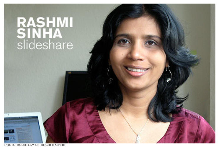 <p><strong>Who she is:</strong> CEO and co-founder of slide sharing site SlideShare.</p> <p><strong>What she's done:</strong> Sinha created a site that enables slideshows to extend beyond limited office or educational use, and makes it possible to share them online. Slide sharers can comment, favorite, download and build on the community's slides.</p>