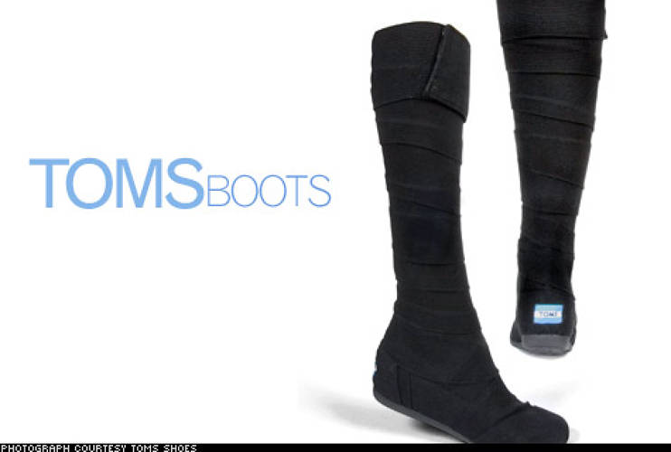<p>Inspired by polo ponies' leg wraps, these boots are the latest product from Toms Shoes, which donates a pair to someone in need for every pair purchased. The canvas boots can be wrapped as high or as low, and as tight or as loose as you like--no matter how skinny your jeans or calves are.</p>  <p>Price: $118<br /> More Info: <a href=&quot;http://www.shopbop.com/bandage-boot-toms/vp/v=1/845524441825746.htm?folderID=2534374302023681&amp;fm=search-shopbysize&quot; target=&quot;_new&quot;>Toms Boots</a><br /> </p>