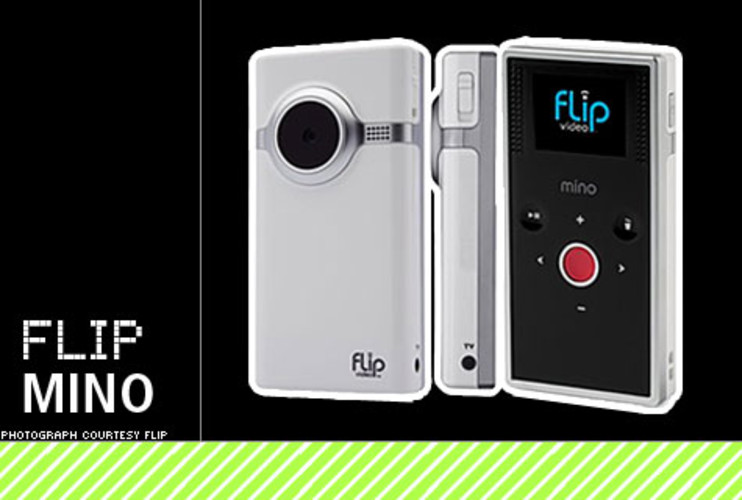 "<p>The first Flip camera democratized digital video like never before, and now its successor is getting personal. The diminutive, easy-to-use cam now packs 2GB of internal storage and can come in pretty much any look you want: choose a case design from Flip's extensive gallery, generate your own pattern on their site, or upload an image, and you can get it emblazoned on your Flip. The Mino (pronounced ""minnow"") is 40% smaller than the original Flip at about the size of a typical mobile phone, and holds an hour of footage that is viewable on its 1.5-inch LCD screen. Touch-sensitive buttons, a TV-out jack, rechargeable battery and the eponymous flip-out USB connector make the Mino a cool buy. </p> <p>Price: $180<br> More Info: <a href=&quot;http://www.theflip.com/products_flip_mino.shtml#scene=sceneMain&quot; target=&quot;_new&quot;>Flip Mino Camcorder</a></br></p>"