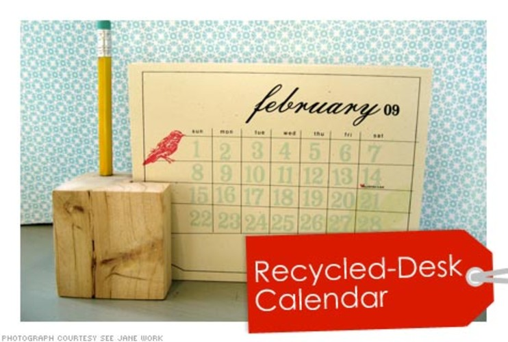<p>Made with 100% recycled paper, this monthly calendar comes with a complementary wood block, made from recycled lumber, that holds your writing utensil. Plus, if you mail back the used calendar pages in a provided biodegradable bag, Cat Seto will recycle it for you and send you a discount for refill pages. </p>  <p>Price: $23.00 <br />More Info: <a href=&quot;http://www.seejanework.com/ProductCart/pc/viewPrd.asp?idcategory=102&idproduct=2742&quot; target=&quot;_new&quot;>Eco-Chic Desk Calendar</a></p>