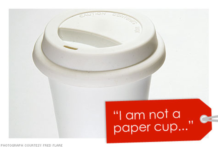 <<p>…declared the coffee cup made of sustainable white porcelain and a silicone top. It's even dishwasher safe. </p> <p>Price: $22 <br />More Info: <a href=&quot;http://www.dcigift.com/product.cfm?productID=763&catID=14&quot; target=&quot;_new&quot;>&quot;I am not a paper cup&quot;</a></p>