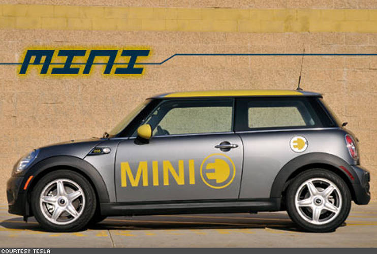 <p>It's a standard-sized Mini Cooper, with only a few tweaks: the backseat has been replaced by big lithium-ion batteries charged by AC Propulsion, and the purely-electric car runs completely silent on the road. </p>