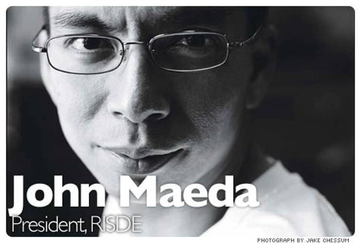 <p> In December of 2007, in a decision that stunned the clubby academic design world, trustees of the 131-year-old Rhode Island School of Design unanimously picked Maeda, the former associate research director of MIT's famed Media Lab, as its next president. In choosing a technologist, the committee is gambling that a highly networked, Web-enabled thinker who also happens to be an artist, designer, and author can help reconcile the design world's competing impulses: creativity and pragmatism, uniqueness and mass-marketability. And no one was more surprised by the selection than Maeda himself. &quot;RISD rhymes with risky!&quot; he says cheerfully, displaying his fondness for goofy aphorisms (&quot;RISD is the right-brain MIT!&quot; is another favorite).  <br /><a href=&quot;http://www.fastcompany.com/magazine/129/the-double-vision-of-john-maeda.html&quot; target=&quot;_new&quot;><em>Learn more</em></a>  </p>