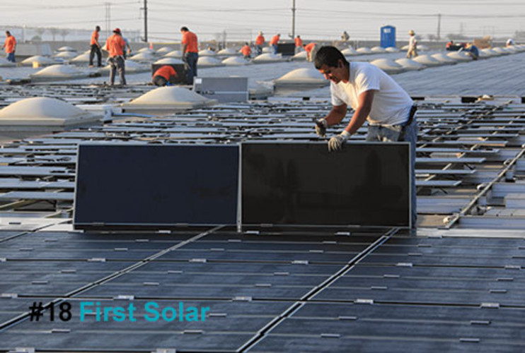 <p>Though less &quot;efficient&quot; in their ability to transform sunlight into electricity than crystalline silicon photovoltaic (PV) cells, thin-film solar technologies of the kind Arizona-based First Solar specializes in are dramatically cheaper to produce. As a result, First Solar -- aka the &quot;Intel of solar&quot; -- has been pumping out cadmium-telluride panels at a radically low $1.14 per watt. Thin film rivals like San Jose's Nanosolar are hot on First Solar's tail, with claims that it can get to 99¢ per watt. But with plans to be producing at gigawatt scale by year end and a market cap of around $11 billion, First Solar has momentum on its side. </p>  <p><a href=&quot;http://www.fastcompany.com/fast50_09/profile/list/first-solar&quot; target=&quot;_new&quot; title=&quot;First Solar&quot;>-- Read the Full Profile</a></p>  <p><strong>The Fast Company 50 Navigation:</strong><br /> <a href=&quot;http://www.fastcompany.com/multimedia/slideshows/content/2009-fast-company-50.html?page=2&quot; title=&quot;Team Obama&quot;>01</a> | <a href=&quot;http://www.fastcompany.com/multimedia/slideshows/content/2009-fast-company-50.html?page=3&quot; title=&quot;Google&quot;>02</a> | <a href=&quot;http://www.fastcompany.com/multimedia/slideshows/content/2009-fast-company-50.html?page=4&quot; title=&quot;Hulu&quot;>03</a> | <a href=&quot;http://www.fastcompany.com/multimedia/slideshows/content/2009-fast-company-50.html?page=5&quot; title=&quot;Apple&quot;>04</a> | <a href=&quot;http://www.fastcompany.com/multimedia/slideshows/content/2009-fast-company-50.html?page=6&quot; title=&quot;Cisco Systems&quot;>05</a> | <a href=&quot;http://www.fastcompany.com/multimedia/slideshows/content/2009-fast-company-50.html?page=7&quot; title=&quot;Intel&quot;>06</a> | <a href=&quot;http://www.fastcompany.com/multimedia/slideshows/content/2009-fast-company-50.html?page=8&quot; title=&quot;Pure Digital Technologies&quot;>07</a> | <a href=&quot;http://www.fastcompany.com/multimedia/slideshows/content/2009-fast-company-50.html?page=9&quot; title=&quot;WuXi PharmaTech&quot;>08</a> | <a href=&quot;http://www.fastcompany.com/multimedia/slideshows/content/2009-fast-company-50.html?page=10&quot; title=&quot;Amazon&quot;>09</a> | <a href=&quot;http://www.fastcompany.com/multimedia/slideshows/content/2009-fast-company-50.html?page=11&quot; title=&quot;Ideo&quot;>10</a> <br /> <a href=&quot;http://www.fastcompany.com/multimedia/slideshows/content/2009-fast-company-50.html?page=12&quot; title=&quot;GE&quot;>11</a> | <a href=&quot;http://www.fastcompany.com/multimedia/slideshows/content/2009-fast-company-50.html?page=13&quot; title=&quot;Hewlett-Packard&quot;>12</a> | <a href=&quot;http://www.fastcompany.com/multimedia/slideshows/content/2009-fast-company-50.html?page=14&quot; title=&quot;Nokia&quot;>13</a> | <a href=&quot;http://www.fastcompany.com/multimedia/slideshows/content/2009-fast-company-50.html?page=15&quot; title=&quot;Gilead Sciences&quot;>14</a> | <a href=&quot;http://www.fastcompany.com/multimedia/slideshows/content/2009-fast-company-50.html?page=16&quot; title=&quot;Facebook&quot;>15</a> | <a href=&quot;http://www.fastcompany.com/multimedia/slideshows/content/2009-fast-company-50.html?page=17&quot; title=&quot;NextEra Energy Resources&quot;>16</a> | <a href=&quot;http://www.fastcompany.com/multimedia/slideshows/content/2009-fast-company-50.html?page=18&quot; title=&quot;Q-Cells&quot;>17</a> | <a href=&quot;http://www.fastcompany.com/multimedia/slideshows/content/2009-fast-company-50.html?page=19&quot; title=&quot;First Solar&quot;>18</a> | <a href=&quot;http://www.fastcompany.com/multimedia/slideshows/content/2009-fast-company-50.html?page=20&quot; title=&quot;IBM&quot;>19</a> | <a href=&quot;http://www.fastcompany.com/multimedia/slideshows/content/2009-fast-company-50.html?page=21&quot; title=&quot;Zappos&quot;>20</a> <br /> <a href=&quot;http://www.fastcompany.com/multimedia/slideshows/content/2009-fast-company-50.html?page=22&quot; title=&quot;Nintendo&quot;>21</a> | <a href=&quot;http://www.fastcompany.com/multimedia/slideshows/content/2009-fast-company-50.html?page=23&quot; title=&quot;Disney&quot;>22</a> | <a href=&quot;http://www.fastcompany.com/multimedia/slideshows/content/2009-fast-company-50.html?page=24&quot; title=&quot;Crispin Porter + Bogusky&quot;>23</a> | <a href=&quot;http://www.fastcompany.com/multimedia/slideshows/content/2009-fast-company-50.html?page=25&quot; title=&quot;TBWA\Worldwide&quot;>24</a> | <a href=&quot;http://www.fastcompany.com/multimedia/slideshows/content/2009-fast-company-50.html?page=26&quot; title=&quot;New England Sports Ventures&quot;>25</a> | <a href=&quot;http://www.fastcompany.com/multimedia/slideshows/content/2009-fast-company-50.html?page=27&quot; title=&quot;DSM&quot;>26</a> | <a href=&quot;http://www.fastcompany.com/multimedia/slideshows/content/2009-fast-company-50.html?page=28&quot; title=&quot;Nike&quot;>27</a> | <a href=&quot;http://www.fastcompany.com/multimedia/slideshows/content/2009-fast-company-50.html?page=29&quot; title=&quot;NPR&quot;>28</a> | <a href=&quot;http://www.fastcompany.com/multimedia/slideshows/content/2009-fast-company-50.html?page=30&quot; title=&quot;Barbarian Group&quot;>29</a> | <a href=&quot;http://www.fastcompany.com/multimedia/slideshows/content/2009-fast-company-50.html?page=31&quot; title=&quot;W.L. Gore & Associates&quot;>30</a> <br /> <a href=&quot;http://www.fastcompany.com/multimedia/slideshows/content/2009-fast-company-50.html?page=32&quot; title=&quot;Busboy Productions&quot;>31</a> | <a href=&quot;http://www.fastcompany.com/multimedia/slideshows/content/2009-fast-company-50.html?page=33&quot; title=&quot;Skidmore, Owings & Merrill&quot;>32</a> | <a href=&quot;http://www.fastcompany.com/multimedia/slideshows/content/2009-fast-company-50.html?page=34&quot; title=&quot;Wal-Mart&quot;>33</a> | <a href=&quot;http://www.fastcompany.com/multimedia/slideshows/content/2009-fast-company-50.html?page=35&quot; title=&quot;Microsoft&quot;>34</a> | <a href=&quot;http://www.fastcompany.com/multimedia/slideshows/content/2009-fast-company-50.html?page=36&quot; title=&quot;Ubisoft&quot;>35</a> | <a href=&quot;http://www.fastcompany.com/multimedia/slideshows/content/2009-fast-company-50.html?page=37&quot; title=&quot;Vestas&quot;>36</a> | <a href=&quot;http://www.fastcompany.com/multimedia/slideshows/content/2009-fast-company-50.html?page=38&quot; title=&quot;Chevron Energy Solutions&quot;>37</a> | <a href=&quot;http://www.fastcompany.com/multimedia/slideshows/content/2009-fast-company-50.html?page=39&quot; title=&quot;CAA&quot;>38</a> | <a href=&quot;http://www.fastcompany.com/multimedia/slideshows/content/2009-fast-company-50.html?page=40&quot; title=&quot;L-3 Communications&quot;>39</a> | <a href=&quot;http://www.fastcompany.com/multimedia/slideshows/content/2009-fast-company-50.html?page=41&quot; title=&quot;Weta Digital&quot;>40</a> <br /> <a href=&quot;http://www.fastcompany.com/multimedia/slideshows/content/2009-fast-company-50.html?page=42&quot; title=&quot;Lego&quot;>41</a> | <a href=&quot;http://www.fastcompany.com/multimedia/slideshows/content/2009-fast-company-50.html?page=43&quot; title=&quot;Emirates&quot;>42</a> | <a href=&quot;http://www.fastcompany.com/multimedia/slideshows/content/2009-fast-company-50.html?page=44&quot; title=&quot;Genzyme&quot;>43</a> | <a href=&quot;http://www.fastcompany.com/multimedia/slideshows/content/2009-fast-company-50.html?page=45 title=&quot;Etsy&quot;>44</a> | <a href=&quot;http://www.fastcompany.com/multimedia/slideshows/content/2009-fast-company-50.html?page=46&quot; title=&quot;BYD&quot;>45</a> | <a href=&quot;http://www.fastcompany.com/multimedia/slideshows/content/2009-fast-company-50.html?page=47&quot; title=&quot;Warner Music Group&quot;>46</a> | <a href=&quot;http://www.fastcompany.com/multimedia/slideshows/content/2009-fast-company-50.html?page=48&quot; title=&quot;Aravind Eye Care System&quot;>47</a> | <a href=&quot;http://www.fastcompany.com/multimedia/slideshows/content/2009-fast-company-50.html?page=49&quot; title=&quot;Toyota&quot;>48</a> | <a href=&quot;http://www.fastcompany.com/multimedia/slideshows/content/2009-fast-company-50.html?page=50&quot; title=&quot;Pelamis Wave Power&quot;>49</a> | <a href=&quot;http://www.fastcompany.com/multimedia/slideshows/content/2009-fast-company-50.html?page=51&quot; title=&quot;Raser Technologies&quot;>50</a></p>