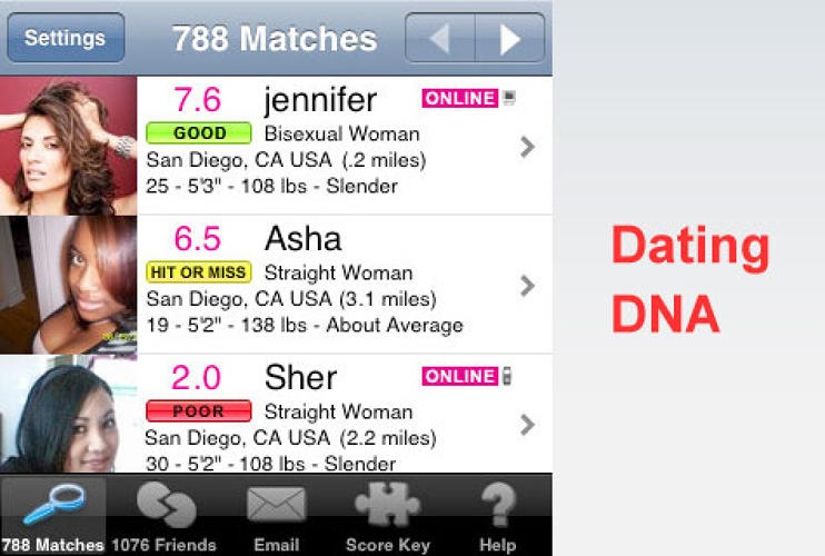 <p> To use this app, you'll first need to create an online account (available for free on <a href=&quot;http://www.datingdna.com/&quot;>datingdna.com</a>). The service lets users browse through other members' profiles and gives you a compatibility scoring.  </p><p>Cost: Free <br /><a href=&quot;http://www.apple.com/webapps/socialnetworking/datingdna.html&quot; target=&quot;_new&quot; title=&quot;Dating DNA&quot;>Dating DNA</a></p>