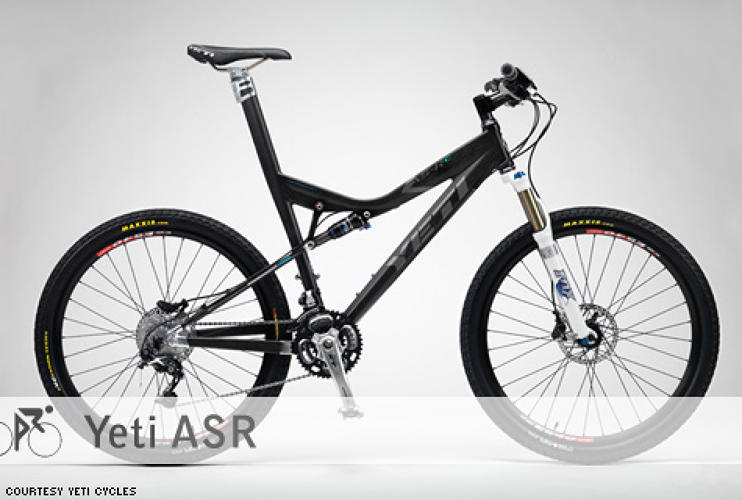 <p> This cross-country mountain bike beats the rap that full-suspension bikes are squishy, inefficient, and heavy. The Yeti ASR's ultra-light carbon fiber rig takes its design cues from carbon-fiber-based road bikes. Its rear suspension system doesn't bob when the rider pedals, saving energy and making for faster sprints off the starting line.  </p> <p> <em>For:</em> Cross country racing<br /> <em>Price:</em> $4,400<br /> <em>From:</em> <a href=&quot;http://www.yeticycles.com&quot; target=&quot;_new&quot;>Yeti Cycles</a> </p>