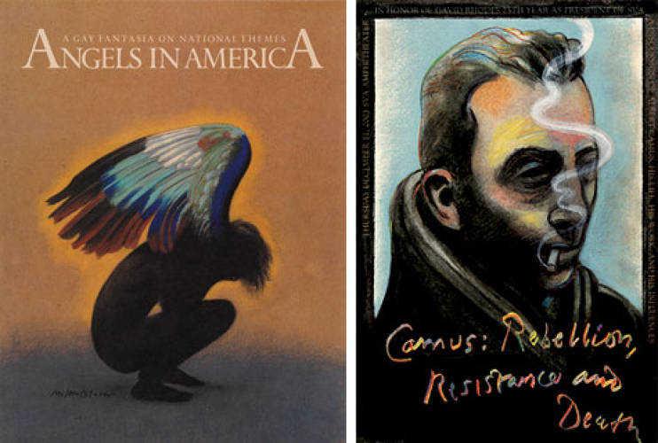 <p> <em>Angels in America</em><br /> In 1993, Glaser created all the artwork and promotional materials for the Pulitzer Prize-winning play by Tony Kushner, a pivotal moment in bringing awareness to the AIDS epidemic.</p> <p> Camus poster<br /> This 2003 poster was created to celebrate Camus fan David Rhodes's 25th year as president of the School of Visual Arts, where Glaser has taught since 1961.</p>