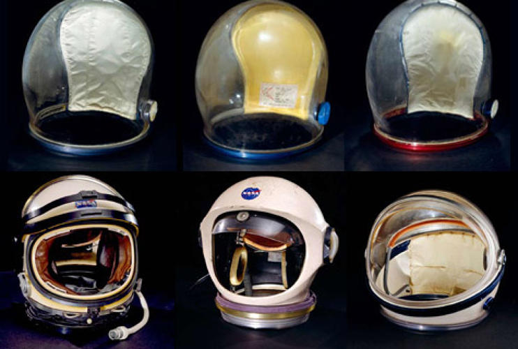 <p>Developmental helmets used in creating the Apollo spacesuits, one in which allowed the astronaut more ease in head movement. This was also the first time the bubble helmet was used. <br /> <em>TOP ROW:</em> (L/R) A7-L Helmet--Apollo Pressure Bubble, Training ILC Industries, 1968; A6-L Helmet--Apollo Pressure Bubble, Developmental/Training. ILC Industries, 1967; A7-LB Helmet--Apollo Pressure Bubble, Worden, Apollo 15 ILC Industries, 1970.<br /> <em>BOTTOM ROW:</em> (L/R) SPD-143 Helmet--Apollo Developmental. ILC Industries, 1963; A4-H Helmet--&quot;Universal&quot;, Hamilton Standard, 1964; Phase I Helmet--Apollo Developmental, David Clark Company, 1967. </p>