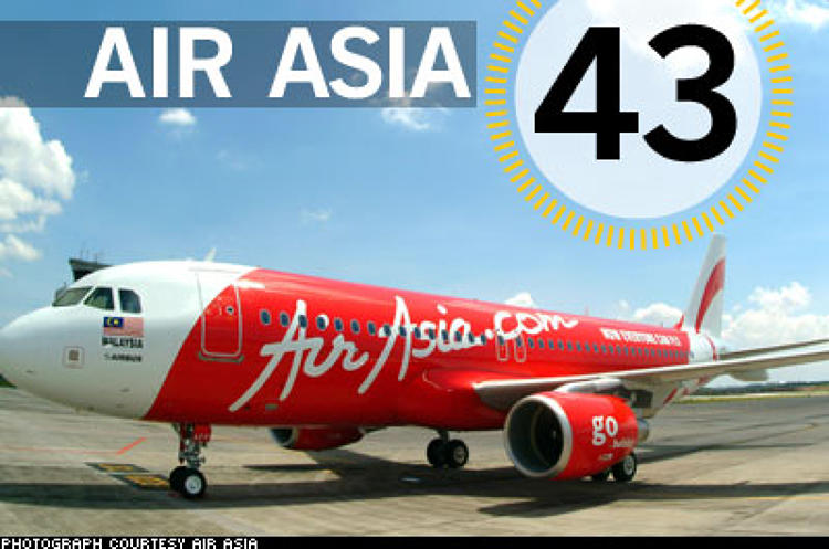 <p> Seven years ago, former music exec Tony Fernandes paid 25 cents for an ailing carrier with two creaky planes and $12 million in debt. Today, AirAsia's bottom-of-the-pyramid strategy has created one of the world's fastest-growing, most-profitable carriers, with the lowest operating costs in the industry and fares as cheap as $3. &quot;It's like our bus,&quot; says Yap Choo Ying, who runs a market stall in eastern Malaysia and now regularly jets to Kuala Lumpur to see her grandkids. In November, the Malaysian company startled analysts by going long-haul, adding flights to Australia; this year, it will add flights to China and India, where billions more people have yet to take to the skies.  </p> <p> <a href=&quot;/fast50_08/airasia.html&quot; target=&quot;_new&quot; title=&quot;AirAsia&quot;>Read more about AirAsia</a>  </p>