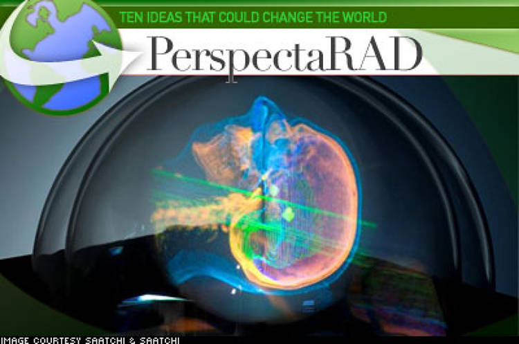 <p> PerspectaRAD is a system that aims to overcome the difficulty that arises when a procedure that is inherently three-dimensional has to be planned on a 2-D display. The system uses special optics and software to project hologram-like floating images of the patient's anatomy and cancer site from standard CAT scans. It needs no special eyewear and could be instrumental in improving the quality of life, and life span, of cancer patients. </p>