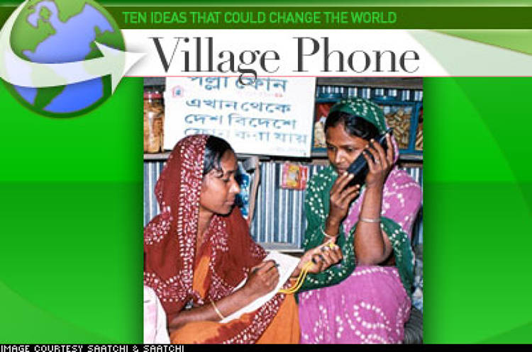 <p> Described as a &quot;business in a box,&quot; the Grameen Technology Center's Village Phone project is a kit available to grassroots entrepreneurs. Consisting of a mobile handset and SIM card, an external antenna, a power source, and marketing materials, the kit allows rural entrepreneurs to rent the use of the phones to their communities. The project's benefits are two-pronged: it addresses the lack of communication services in villages across the developing world – individual mobile phones are too expensive for the rural poor and telecoms find the cost of installing and maintaining infrastructure in rural areas too high – and it also provides a steady source of income for the Village Phone operators. </p>