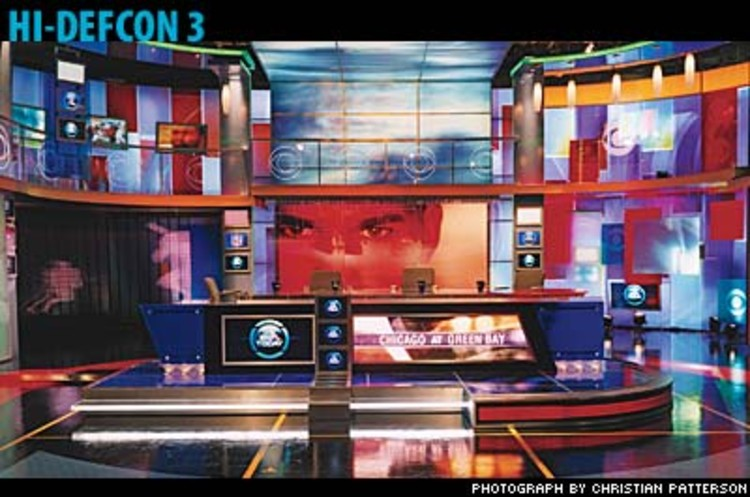 <p>To counter the magnifying effect HDTV has on blue tones, Jim Fenhagen ordered up last-minute tweaks for the September debut of CBS's <em>The NFL Today</em>: posterized graphics of players, and panels in a deep, arterial red. The set boasts a skull-busting total of 47 TV screens. </p>