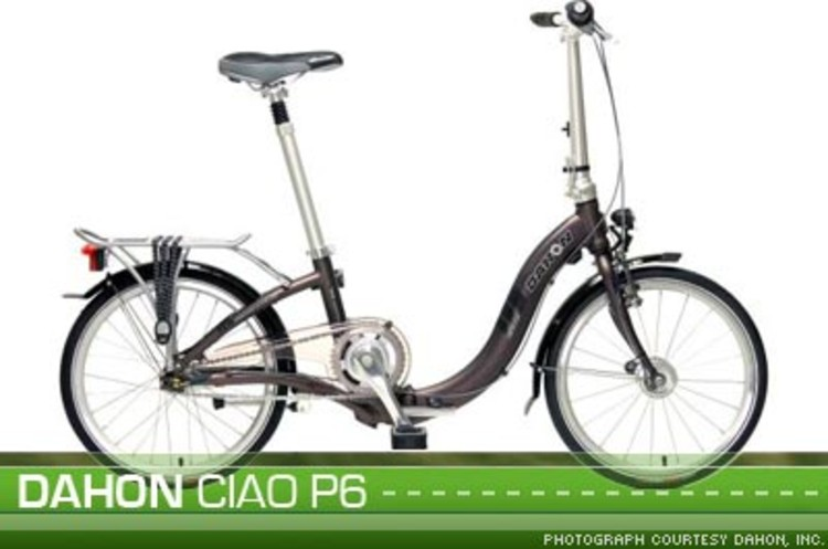 <p>The <a href=?http://www.dahon.com/us/ciaop5.htm?>Dhaon Ciao P5</a> requires no fuel or batteries to get you around town. With a low body frame, the Dhaon is easy to step over, making it even easier for anybody to ride. It also features a front power light for night riding, as well as mud guards, and a rack for your carry-on items.</p>