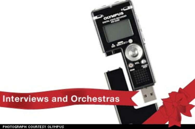 <p>Olympus' WS-3xx series voice recorders comes with 256 MB, 512 MB or 1 GB of space. Twice as wide as an iPod shuffle, it's a flash-based music player, as well as a stereo voice recorder. Dictate notes, record interviews, or create your first podcast. $149 to $229.</p><p><a href=&quot;http://www.olympusamerica.com/cpg_section/cpg_vr_digitalmusic.asp&quot;>http://www.olympusamerica.com</a></p>