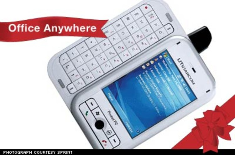 <p>The PPC-6700 from Sprint is the first phone to run on Windows Mobile 5. It features portable, yet robust versions of Excel, PowerPoint, and Outlook that are compatible with the full programs. This feature-rich smartphone is perfect for the office road warrior to work on the go. $449.</p><p><a href=&quot;http://www.sprint.com/business/products/phones/ppc6700_allPcsPhones.jsp&quot;>http://www.sprint.com/</a></p>