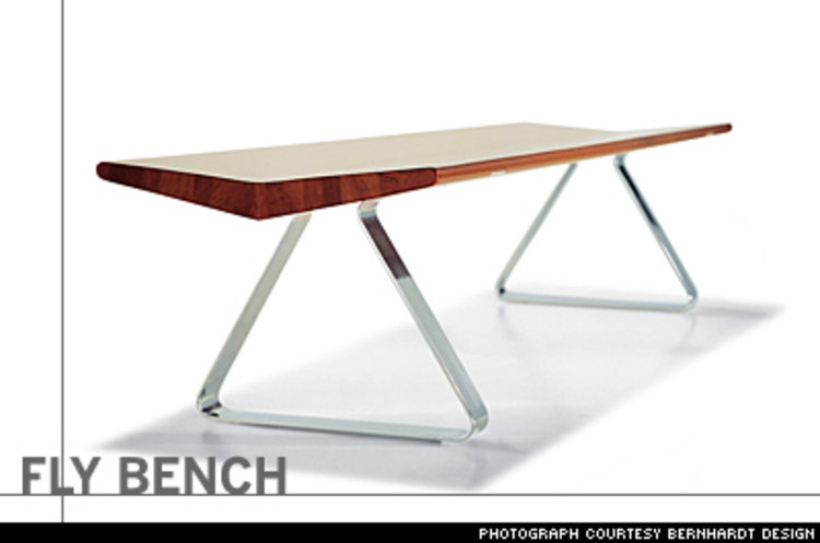 <p>Behar, founder of the San Francisco studio fuseproject, created the sculpturally expressive Fly bench out of two triangular stainless-steel shapes combined at their apex for structural integrity. &quot;It's about tension, a walnut plank lifted effortlessly in mid-air.&quot; $1,500</p>