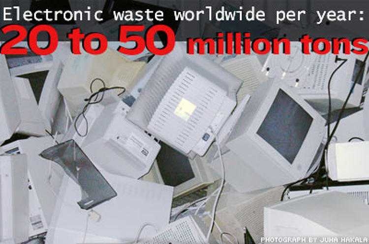 <p>Electronic waste from trashed consumer and business electronic products contains toxic metals such as lead, mercury, cadmium and beryllium, and other hazardous chemicals that can cause such medical problems as high blood pressure; damage to the central and peripheral nervous systems, the endocrine systems, the kidneys, lungs, liver and digestive tract; and pose a risk to unborn fetuses.</p>