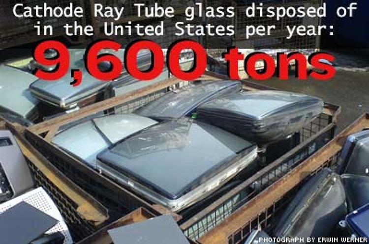 <p>Cathode Ray Tube glass found in most televisions and computer monitors contains potentially hazardous lead.</p>