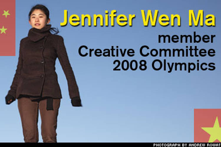 <p>The youngest member of the seven-person committee planning next year's Olympic opening ceremony, Jennifer Wen Ma, 33, hopes to roll out a whole new look for China at the inauguration of the games. Working under legendary film director Zhang Yimou, she promises a radical departure--and a minimum of ribbon dancing.</p>