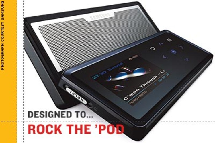 <p><strong>We know, we know.</strong> Unlike other MP3 players, though, the Samsung K5 has built-in speakers that slide out from the back and fill a room with sound. No docks, ports, or sound waves needed. Includes an FM radio, alarm clock, and OLED screen. 1, 2, and 4 GB versions available. <br />$199--$299</p>