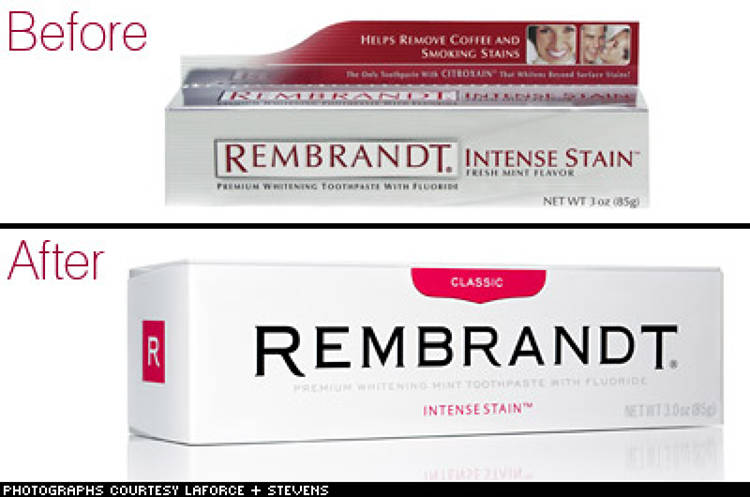 <p> <strong>The Brand:</strong> Remrandt  </p> <p> <strong>The Aim:</strong> In an attempt to radically rebrand its newly acquired oral healthcare line, Johnson &amp; Johnson created a packaging plan to achieve shelf differentiation and also to create a product that provided consumers with a meaningful experience, one that transcended the functionality with which oral healthcare had traditionally been associated.  </p> <p> <strong>The Strategy:</strong> The hallmark of the repackaging campaign was simplication: the new boxes were white and uncluttered. Retailers were also asked to shelf the entire brand in one location, creating a noticeable wall of white.  </p> <p> *Information courtesy of Laforce + Stevens.  </p>