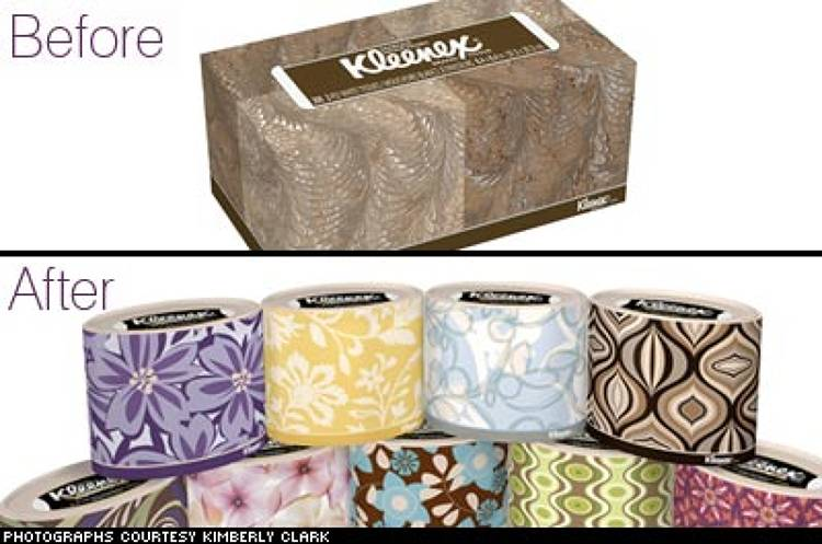 <p> <strong>The Brand:</strong> Kleenex  </p> <p> <strong>The Aim:</strong> To incorporate elements of design and style into an everyday product that would take it out of the bedroom, making it suitable for the living room, and would also attract younger consumers to the brand.  </p> <p> <strong>The Strategy:</strong> While the original Kleenex box continues to exist, Kimberly Clark also developed an <em>oval</em> box in recent years. The newly designed boxes, released as holiday editions in 2005, were so successful that they ranked as the top selling facial tissues in the weeks leading up to the holiday.  </p> <p> *Information courtesy of Kimberly Clark.  </p>