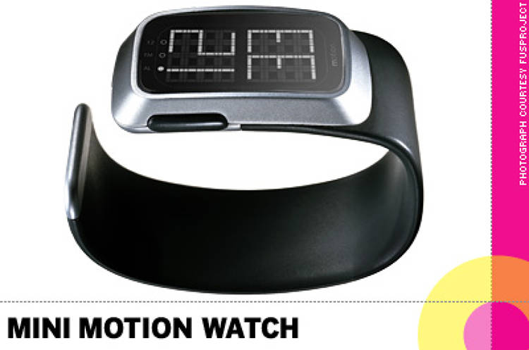 <p> &quot;The <strong>Mini Motion Watch by Yves Behar</strong> bridges the gap between the restraint and formality of a dress watch and the casual technology of a sports watch. It's clean and sleek and is just as appropriate at a dinner party as it is when you're out running.&quot; -- Jerry Helling, Bernhardt Studio </p>
