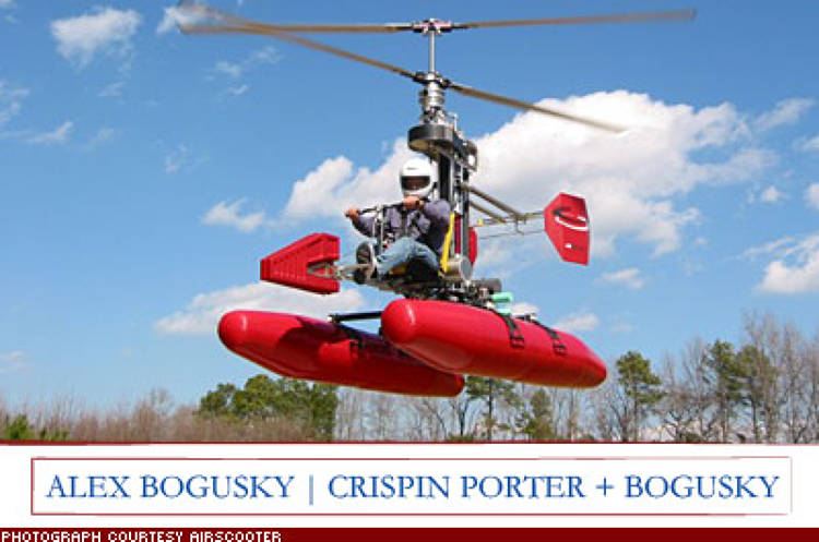 <p>&quot;The AirScooter [an 11 foot-by 7 foot lightweight open air chopper] can take off vertically and be flown by a relative novice. Basically, this thing is your own personal helicopter.&quot; Price to be determined; <a href=&quot;http://www.airscooter.com/&quot; target=&quot;_blank&quot;>airscooter.com</a></p>