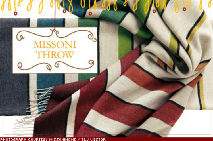 <p>So you scored a job at one of those companies with &quot;nap stations.&quot; Great. Now you need nap gear. Try this throw from Missoni, the Milan design house whose rich colors have graced everything from silk dresses to a hotel chain. $358; <a href=&quot;http://www.missonihome.com&quot; target=&quot;_blank&quot;>missonihome.com</a></p>