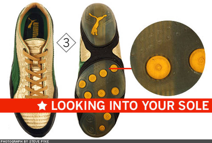 <p> Puma removed an entire midlayer in its USAN METALLIC CROC (3) to save weight, making up for what was lost structurally by wrapping the leather upper around the sole (the black X under the arch). Then it made the shoe's sole see-through, just to be cool. Puma is sponsoring Jamaica, Morocco, and Sweden in Beijing.  </p>