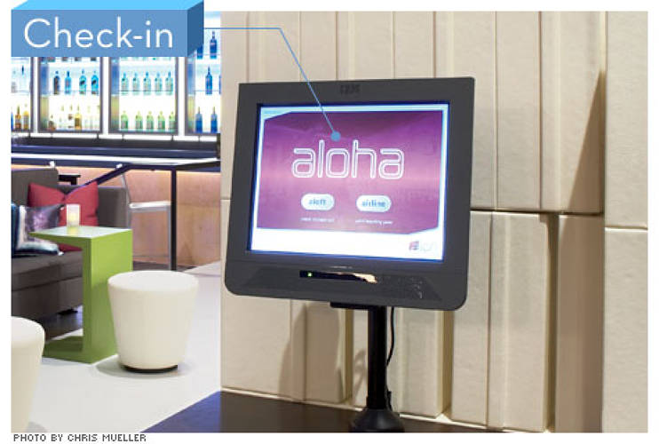 "<p> ""In the airline industry, there's a huge adoption rate for self-serve check-in; not so much in hotels,"" McGuinness says. With the goal of one-stop service, the kiosk lets guests select rooms and print hotel receipts and airline boarding passes. It also spits out electronic keys.  </p>"