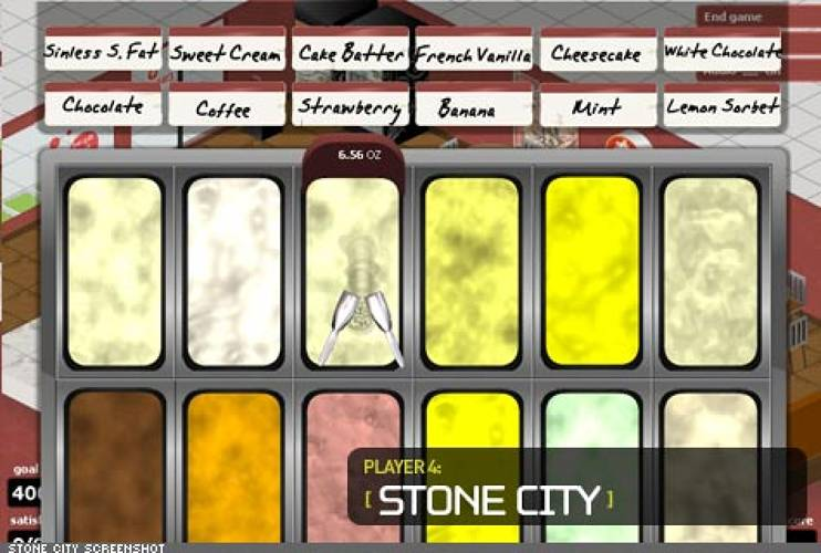 <p> Persuasive Games created a sophisticated ice cream simulation for &quot;Stone City&quot; which included a viscosity model for accurate scooping. In essence, the different flavors are apportioned in accordance with their actual physical properties. Player performance affects customer service, speed of service, accuracy of portion sizes, and correct recipe recognition -- all reflected in their overall score.  </p>
