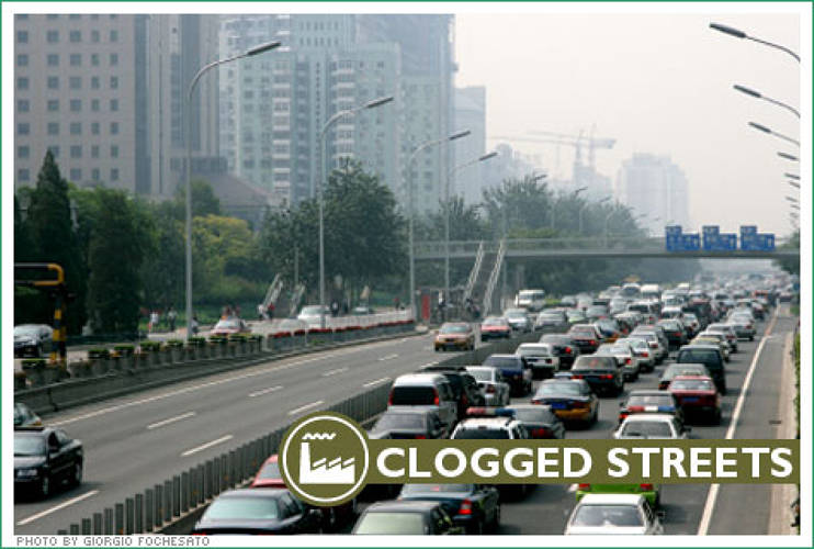 <p> For all of its efforts to expand public transportation, Beijing's streets are nevertheless choked with traffic--including 1,300 new cars a day. </p>