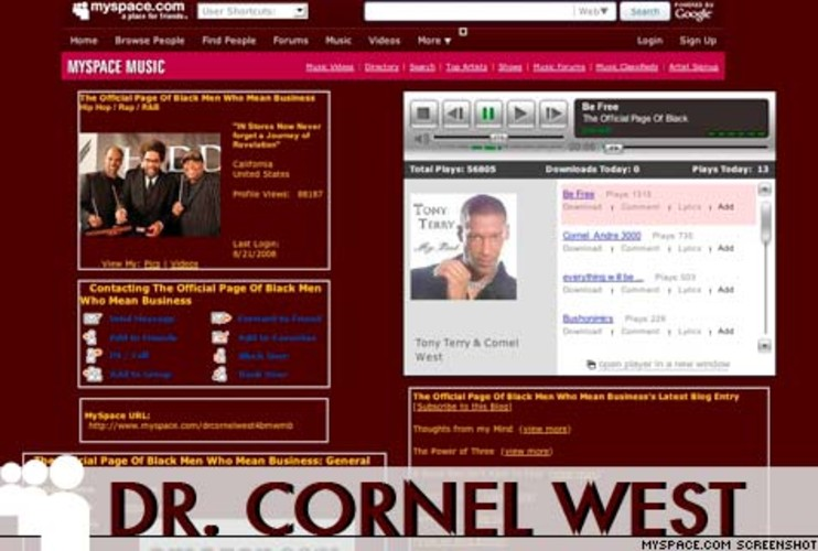 <p> Well-known author, civil rights activist, philosopher and Princeton professor, the typically non-singing Cornel West has taken his reveries on race, class and justice to the recording studio. <a href=&quot;http://www.myspace.com/drcornelwest4bmwmb&quot; target=&quot;_new&quot; title=&quot;Cornel West MySpace&quot;>His MySpace page</a> offers downloads of his spoken word/musical collaborations with Andre 3000 and Gerald Levert, among others. Peace to the movement.  </p>
