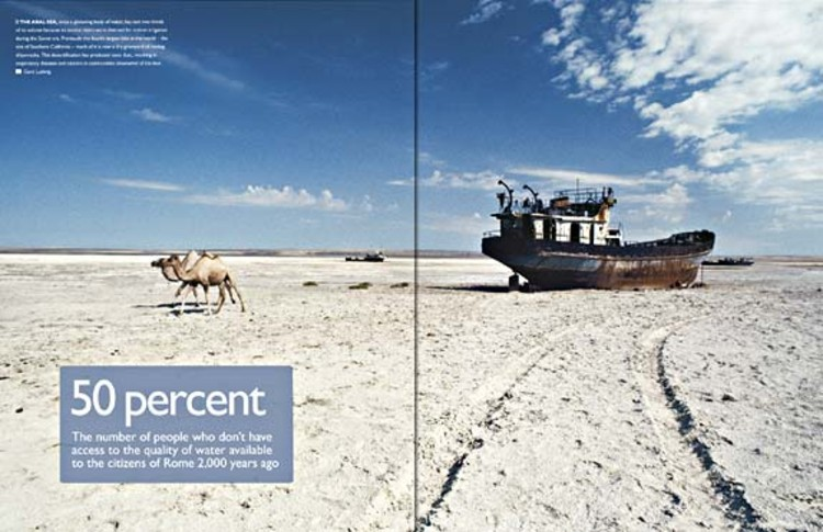 The Aral Sea, once a glistening body of water, has lost two-thirds of its volume because its source rivers were diverted for cotton irrigation during the Soviet era. Previously the fourth-largest lake in the world -- the size of Southern California -- much of it is now a dry graveyard of rusting shipwrecks. This desertification has produced toxic dust, resulting in respiratory diseases and cancers in communities downwind of the lake.