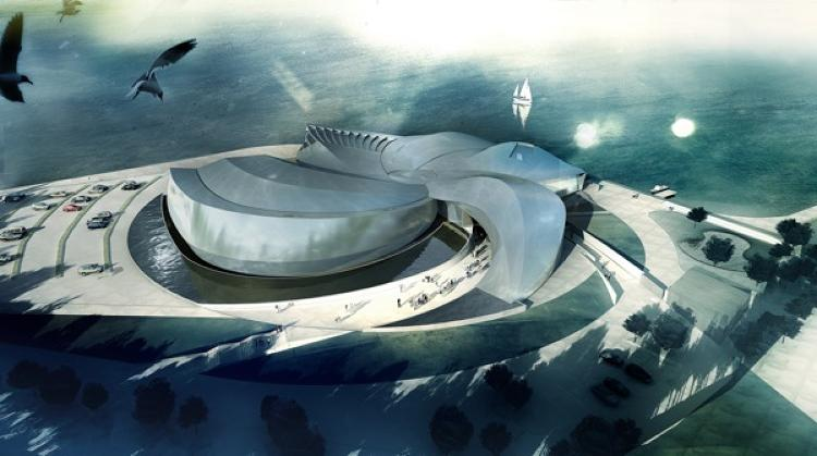 3XN was recently featured in <em>Mind Your Behaviour</em>, a solo exhibit at the Danish Architecture Centre. Here's one of the projects highlighted in the show -- an aquarium, shaped like a whirlpool. Watch out, it'll suck you in!