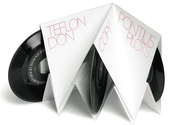 Byron Kalet's design for his own <em>Journal of Popular Noise</em>, an audio magazine. When folded, it looks like a record sleeve; open, it contains multiple records and beautifully printed copy.