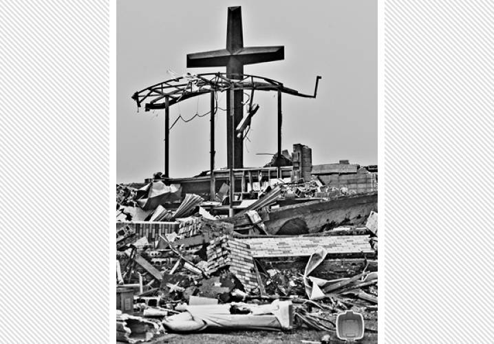 St. Mary's Catholic Church and School in Joplin just a few hours after the tornado hit.
