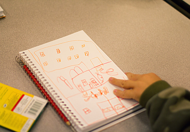 An Irving Elementary first grader sketched a new Irving Elementary School and playground.