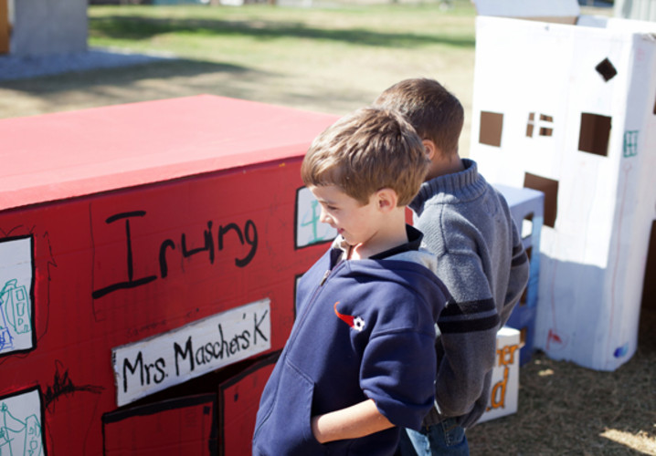 A restored Irving Elementary by Mrs. Mascher's kindergarten class.