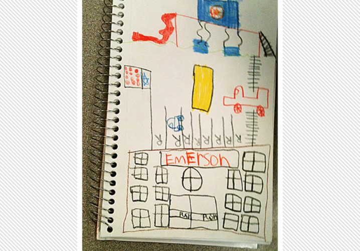 An Emerson Elementary second grader drew his new school with a brand new play area including two pools.