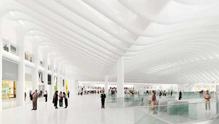 The WTC Transportation Hub will include a massive underground shopping complex, as well as platforms for the trains. Calatrava's original design was intended to suffuse the space with natural light, a goal that has gotten more difficult as plans for other above-ground structures have taken precedence over his original plan.