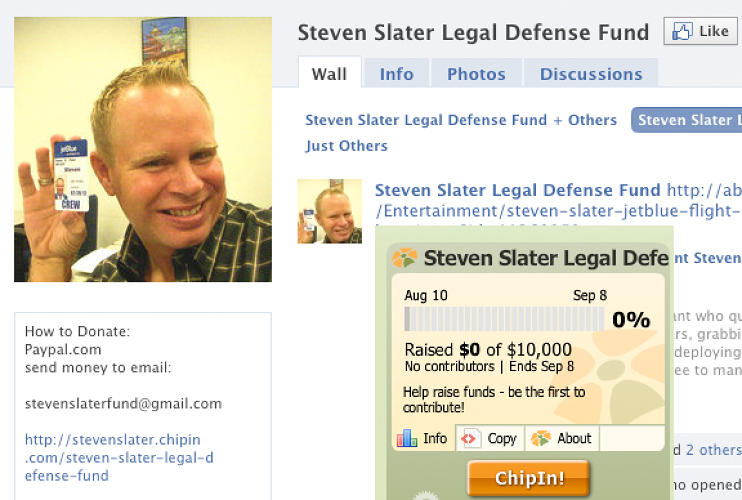 Steven Slater's bail was set at $2,500. Soon, a <a href=&quot;http://www.facebook.com/pages/Steven-Slater-Legal-Defense-Fund/122216334492789?v=wall&ref=ts&quot;></a>Legal Defense Fund</a> had been started in his name--and quickly raised thousands in his honor.